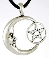 Bright Pentagram Moon Celestial Amulet