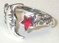Beautiful Moon and Star Adjustable Ring