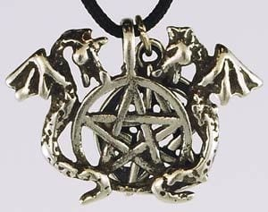 Incredible Twin Dragons Pentagram Amulet